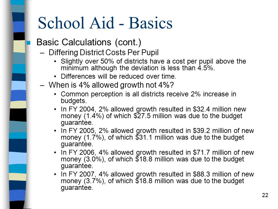 22 School Aid - Basics n Basic Calculations (cont.) –Differing District Costs Per Pupil Slightly over 50% of districts have a cost per pupil above the minimum although the deviation is less than 4.5%.