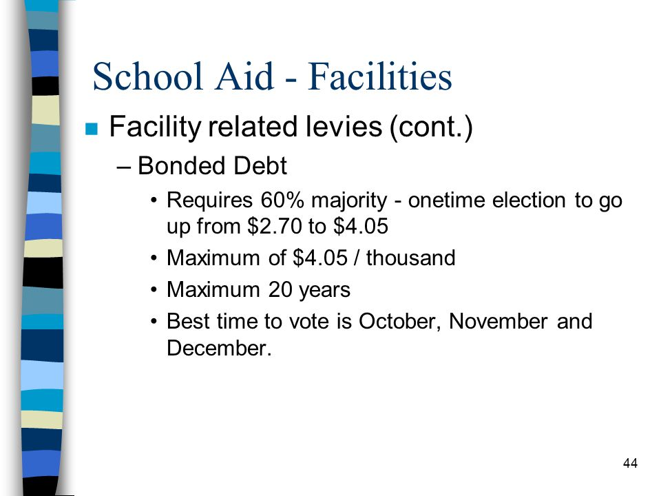 44 School Aid - Facilities n Facility related levies (cont.) –Bonded Debt Requires 60% majority - onetime election to go up from $2.70 to $4.05 Maximum of $4.05 / thousand Maximum 20 years Best time to vote is October, November and December.