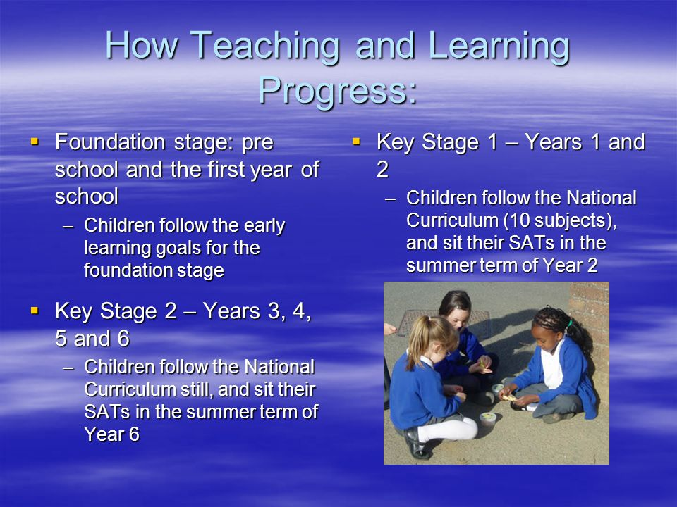 How Teaching and Learning Progress:  Foundation stage: pre school and the first year of school –Children follow the early learning goals for the foun
