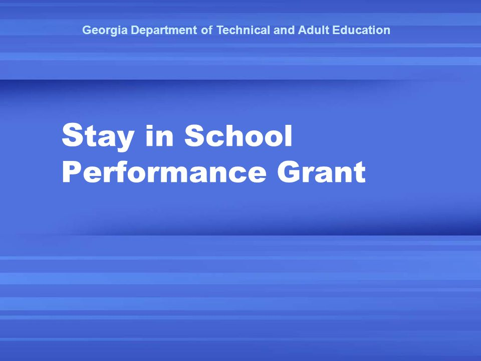 S tay in School Performance Grant Georgia Department of Technical and Adult Education