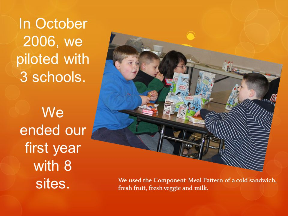 In October 2006, we piloted with 3 schools. We ended our first year with 8 sites. We used the Component Meal Pattern of a cold sandwich, fresh fruit,