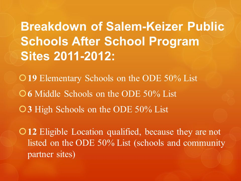 Breakdown of Salem-Keizer Public Schools After School Program Sites 2011-2012:  19 Elementary Schools on the ODE 50% List  6 Middle Schools on the ODE 50% List  3 High Schools on the ODE 50% List  12 Eligible Location qualified, because they are not listed on the ODE 50% List (schools and community partner sites)