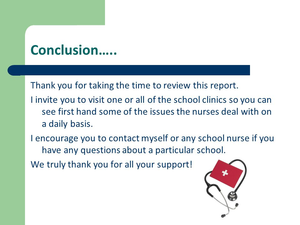 Conclusion….. Thank you for taking the time to review this report.