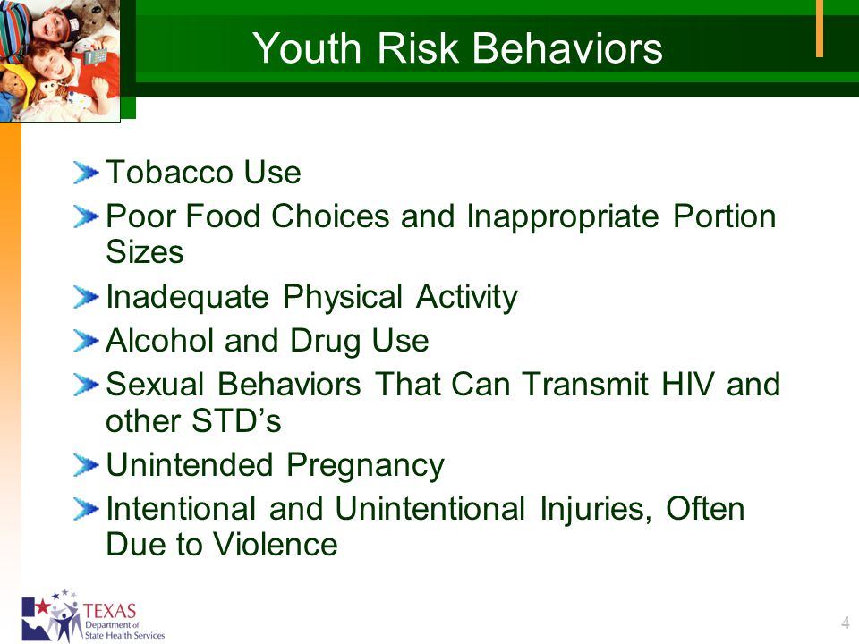 4 Youth Risk Behaviors Tobacco Use Poor Food Choices and Inappropriate Portion Sizes Inadequate Physical Activity Alcohol and Drug Use Sexual Behavior