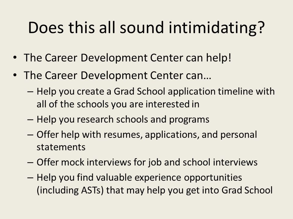 Does this all sound intimidating. The Career Development Center can help.