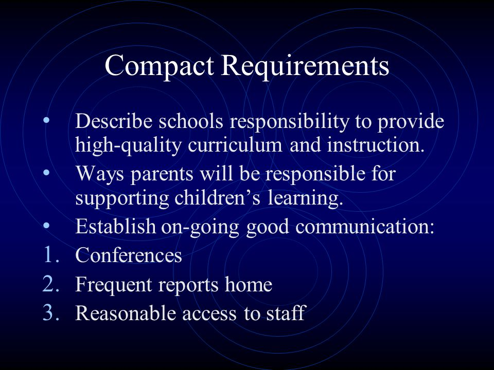 Compact Requirements Describe schools responsibility to provide high-quality curriculum and instruction.