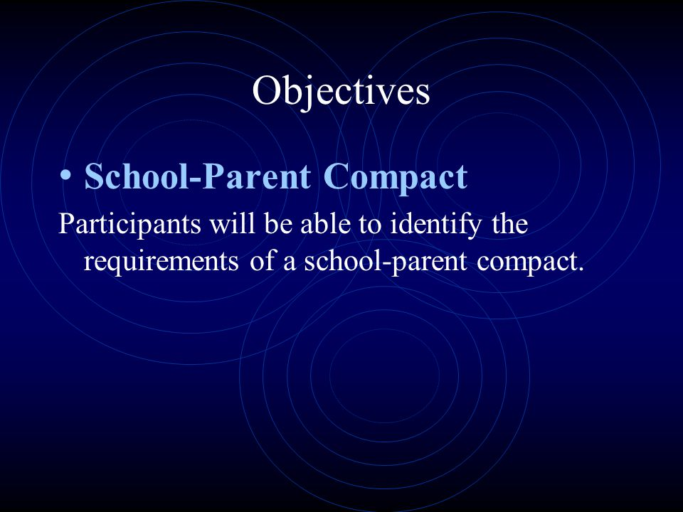 Objectives School-Parent Compact Participants will be able to identify the requirements of a school-parent compact.