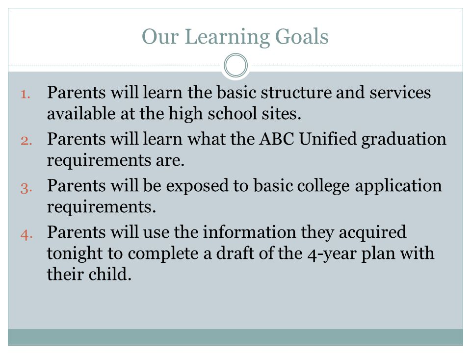 Our Learning Goals 1.