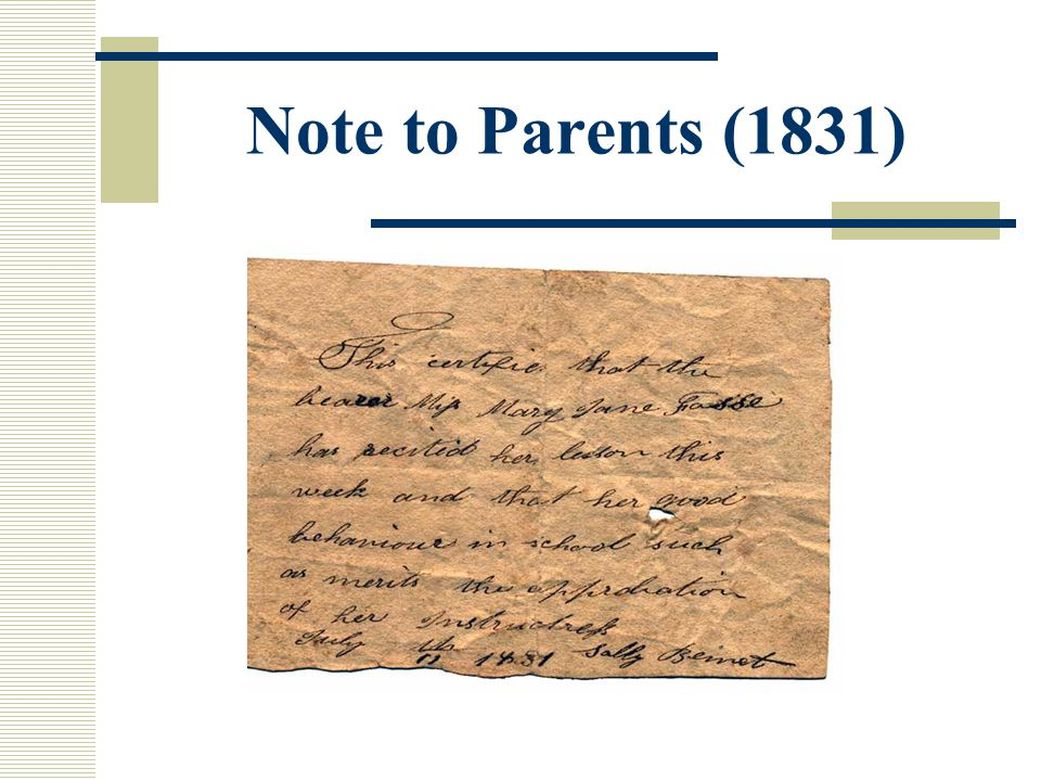 Note to Parents (1831)