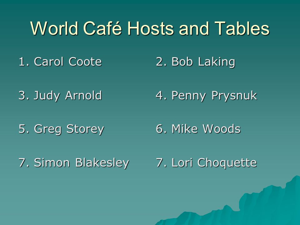World Café Hosts and Tables 1. Carol Coote 3. Judy Arnold 5.