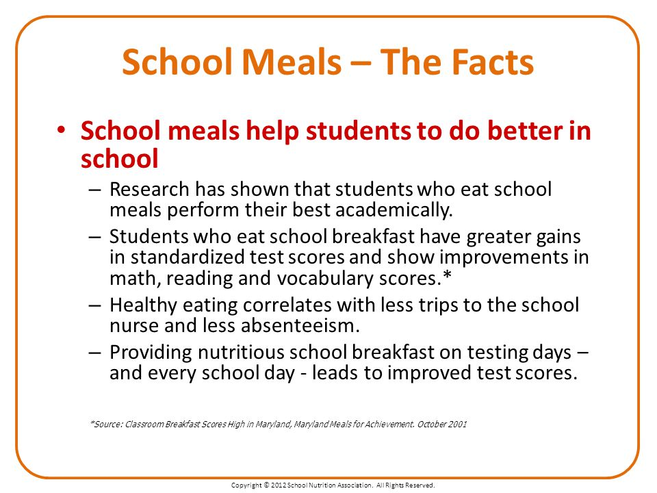 Copyright © 2012 School Nutrition Association. All Rights Reserved.