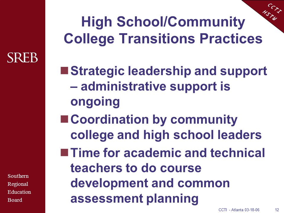 CCTI HSTW CCTI - Atlanta 03-18-0612 High School/Community College Transitions Practices Strategic leadership and support – administrative support is o