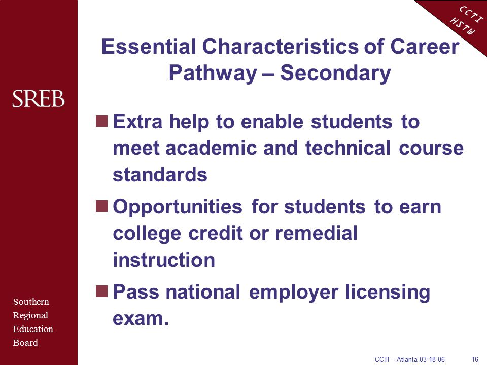 CCTI HSTW CCTI - Atlanta 03-18-0616 Essential Characteristics of Career Pathway – Secondary Extra help to enable students to meet academic and technic