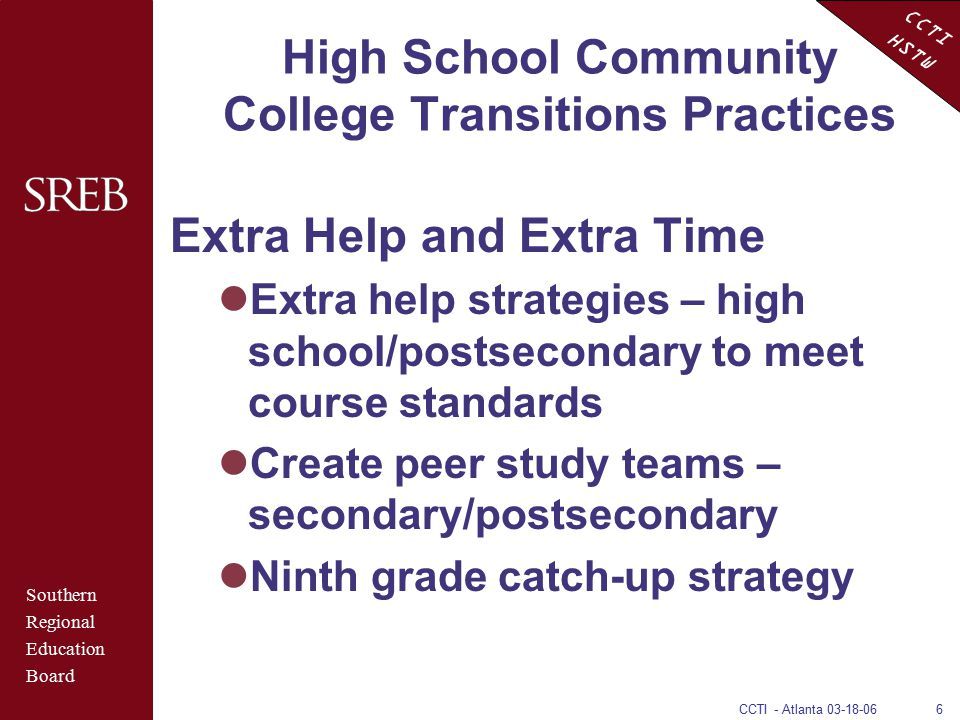 CCTI HSTW CCTI - Atlanta 03-18-066 High School Community College Transitions Practices Extra Help and Extra Time Extra help strategies – high school/p