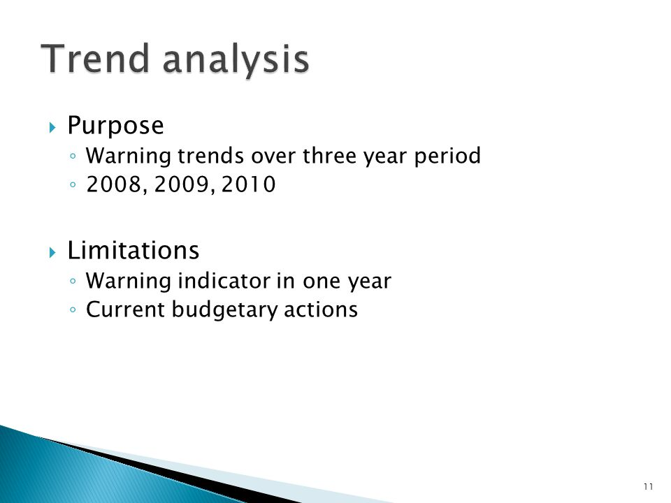  Purpose ◦ Warning trends over three year period ◦ 2008, 2009, 2010  Limitations ◦ Warning indicator in one year ◦ Current budgetary actions 11