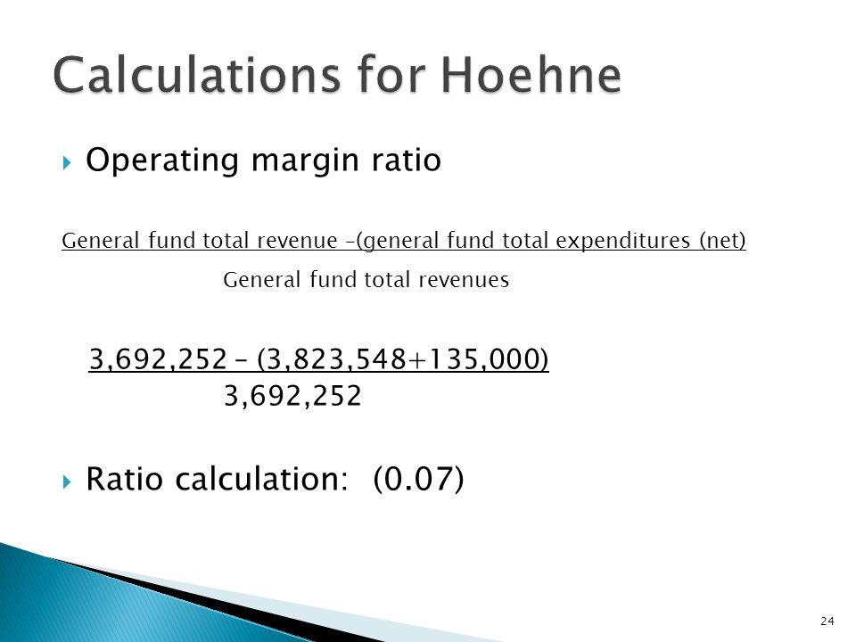  Operating margin ratio General fund total revenue –(general fund total expenditures (net) General fund total revenues 3,692,252 – (3,823,548+135,000) 3,692,252  Ratio calculation: (0.07) 24