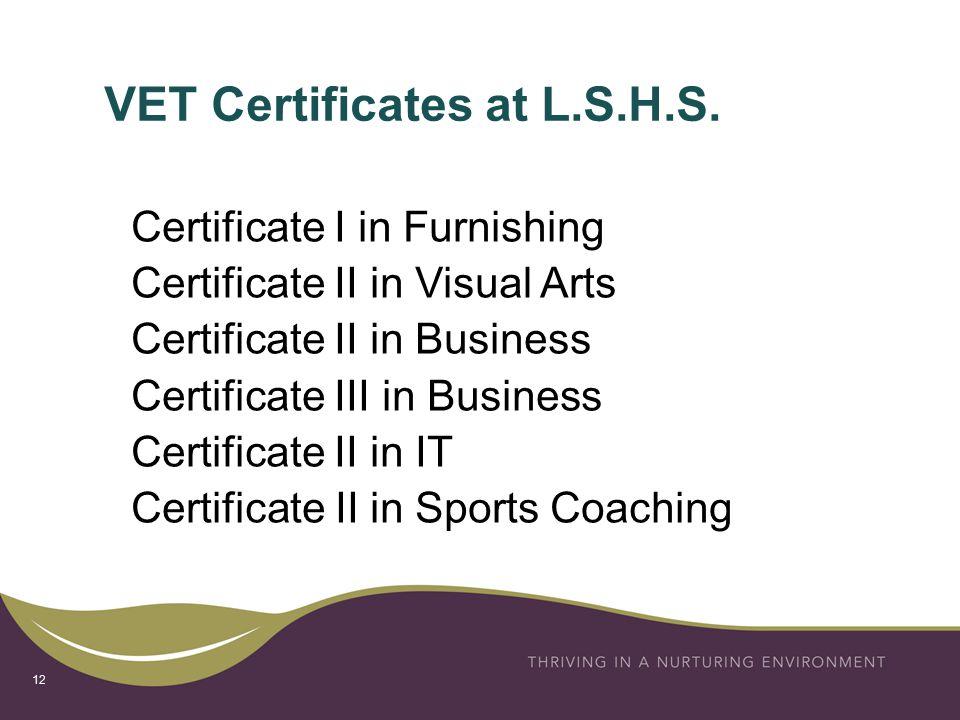 VET Certificates at L.S.H.S.