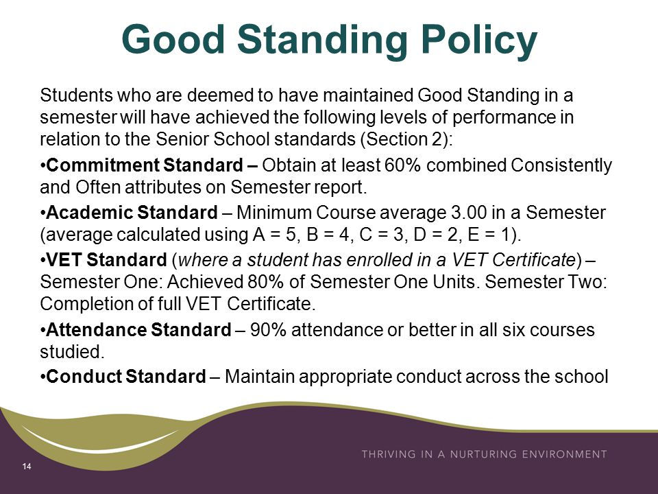 Good Standing Policy Students who are deemed to have maintained Good Standing in a semester will have achieved the following levels of performance in relation to the Senior School standards (Section 2): Commitment Standard – Obtain at least 60% combined Consistently and Often attributes on Semester report.