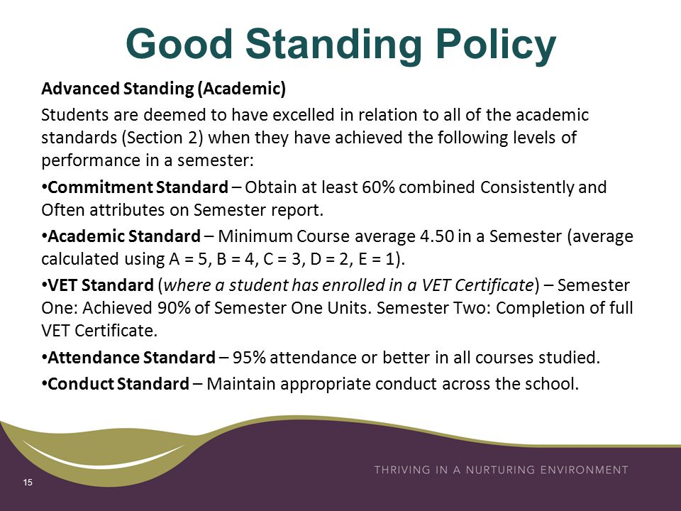 Good Standing Policy Advanced Standing (Academic) Students are deemed to have excelled in relation to all of the academic standards (Section 2) when they have achieved the following levels of performance in a semester: Commitment Standard – Obtain at least 60% combined Consistently and Often attributes on Semester report.