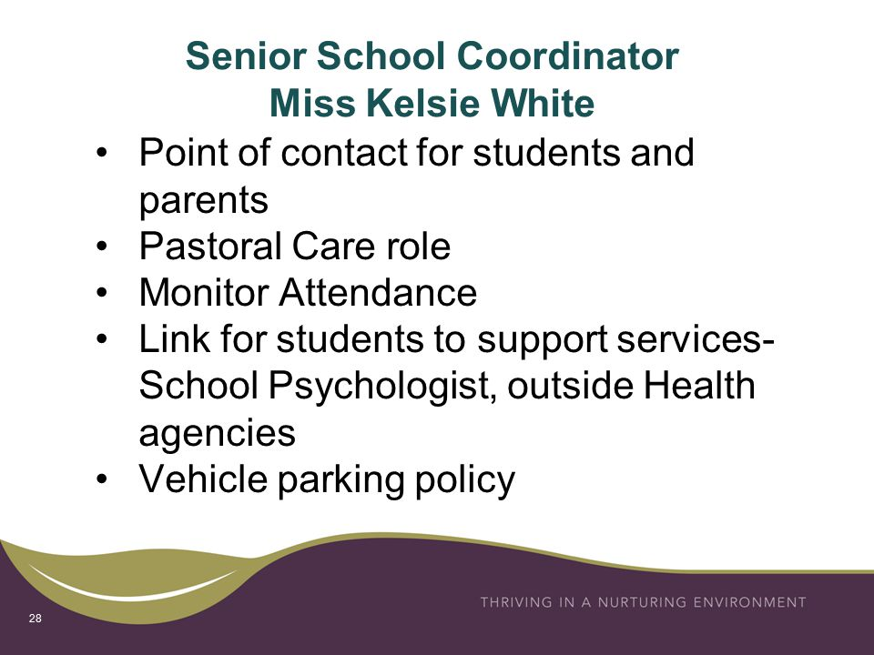 Senior School Coordinator Miss Kelsie White Point of contact for students and parents Pastoral Care role Monitor Attendance Link for students to support services- School Psychologist, outside Health agencies Vehicle parking policy 28