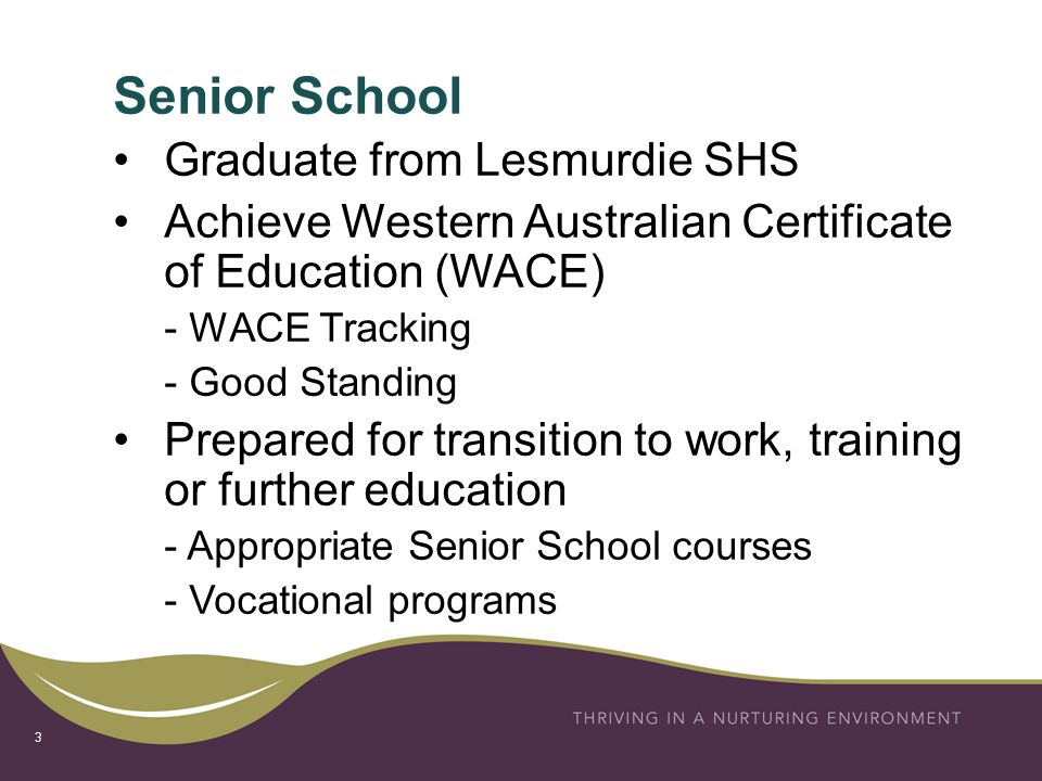 Senior School 3 Graduate from Lesmurdie SHS Achieve Western Australian Certificate of Education (WACE) - WACE Tracking - Good Standing Prepared for transition to work, training or further education - Appropriate Senior School courses - Vocational programs