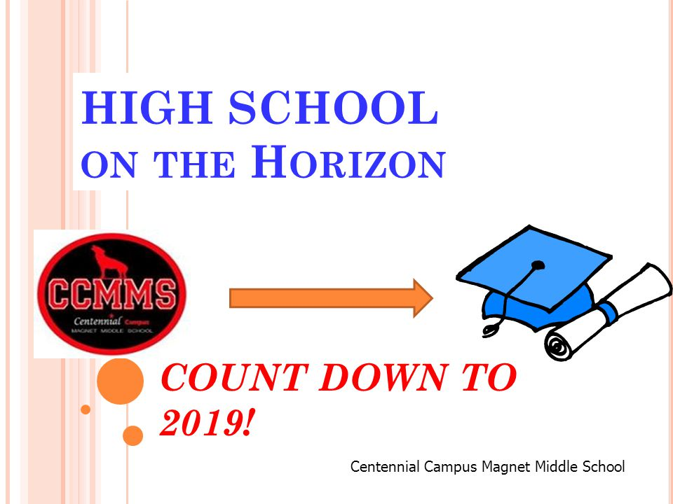 HIGH SCHOOL ON THE H ORIZON COUNT DOWN TO 2019! Centennial Campus Magnet Middle School