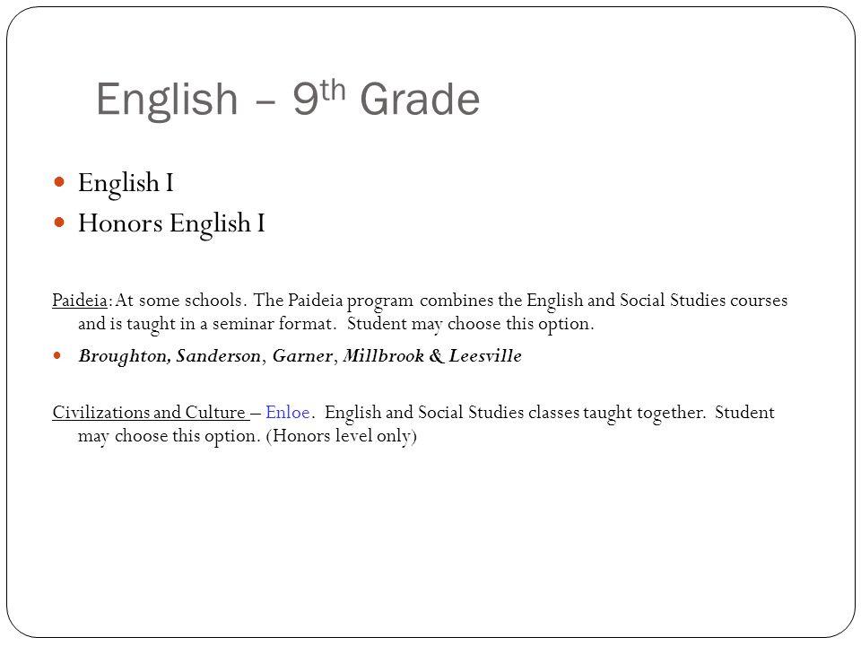 English – 9 th Grade English I Honors English I Paideia: At some schools.