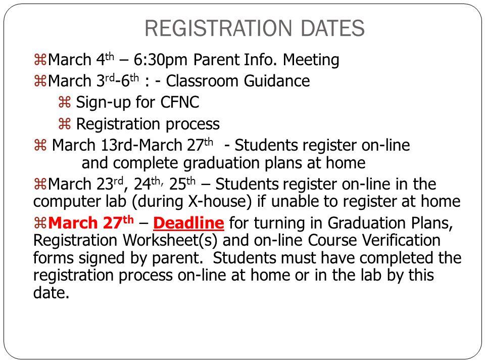 REGISTRATION DATES zMarch 4 th – 6:30pm Parent Info.