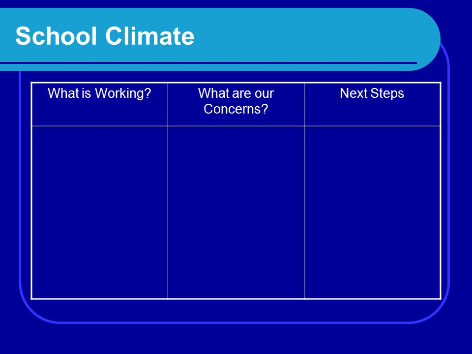 School Climate What is Working What are our Concerns Next Steps