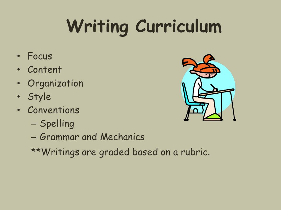 Writing Curriculum Focus Content Organization Style Conventions – Spelling – Grammar and Mechanics **Writings are graded based on a rubric.