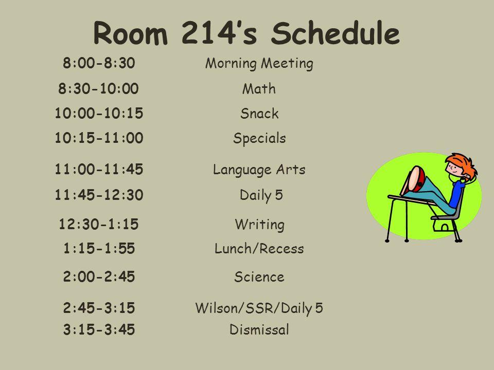 Room 214's Specials Schedule Monday PE/Health Mr.Kubala Tuesday Spanish Sra.