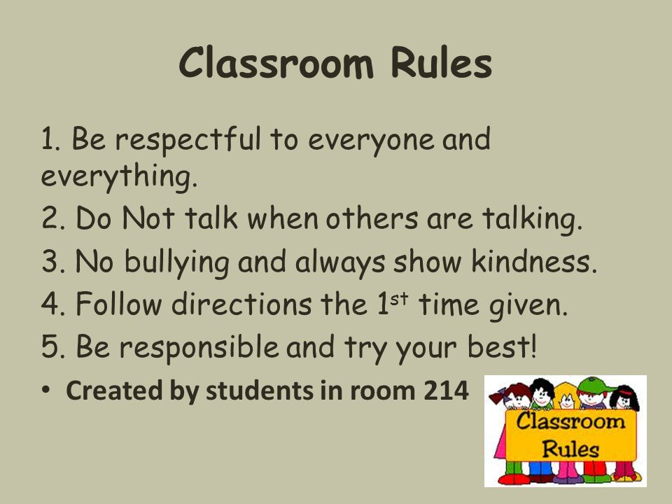 Classroom Rules 1. Be respectful to everyone and everything. 2. Do Not talk when others are talking. 3. No bullying and always show kindness. 4. Follo