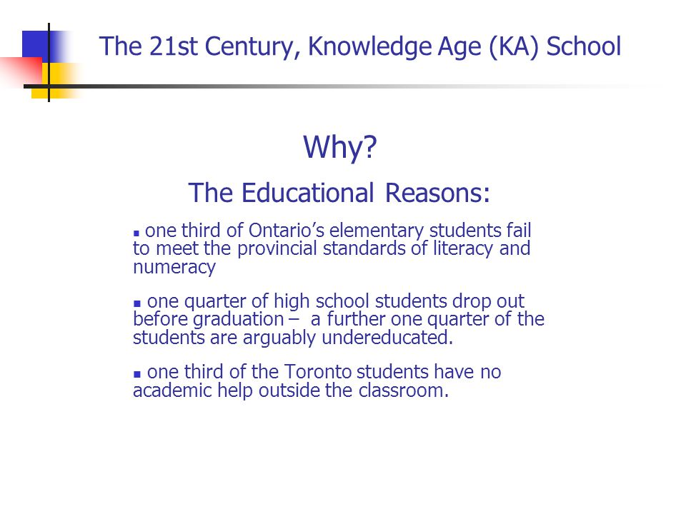 The 21st Century, Knowledge Age School The Learning Organization: Peter Senge, The Fifth Discipline Teacher created/directed curriculum/program designed to a mandate from the Board: Vision: Prosperity in the Knowledge Age Mission: Create an organizational model that reflects and realizes the vision Goals: 90% of the students to graduate from school and 70% prepared to follow further education Values: No harm, inclusive, accountable Implementation: Community exploration frame, deepening over the years to grow into global partners.