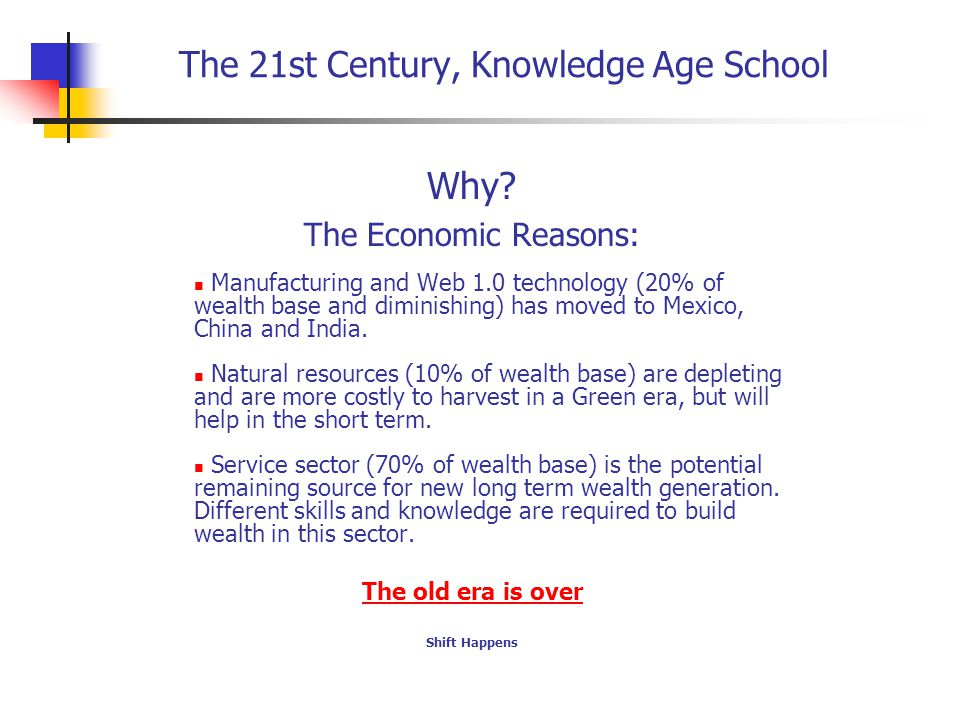 The 21st Century, Knowledge Age School Why.