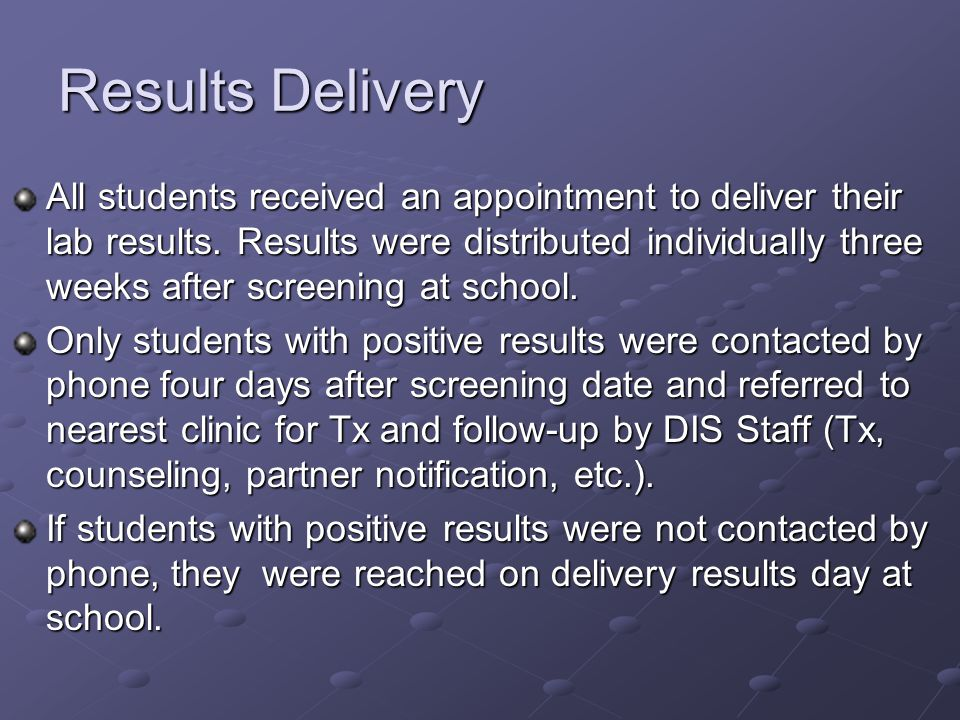 Results Delivery All students received an appointment to deliver their lab results.