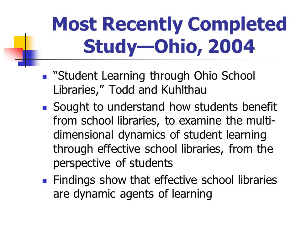 "Most Recently Completed Study—Ohio, 2004 ""Student Learning through Ohio School Libraries,"" Todd and Kuhlthau Sought to understand how students benefit"