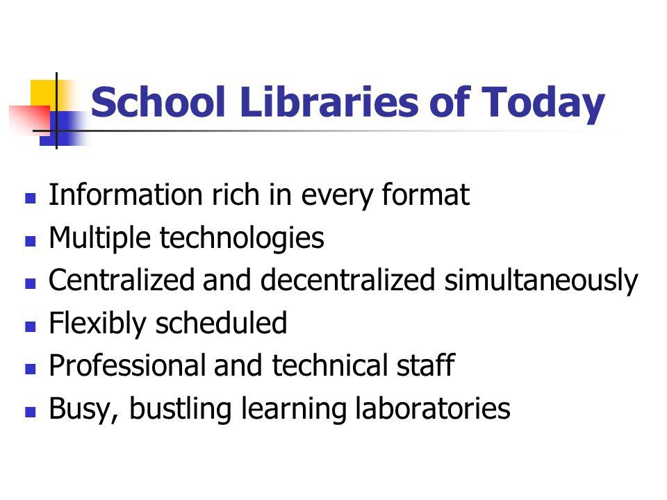 School Libraries of Today Information rich in every format Multiple technologies Centralized and decentralized simultaneously Flexibly scheduled Profe