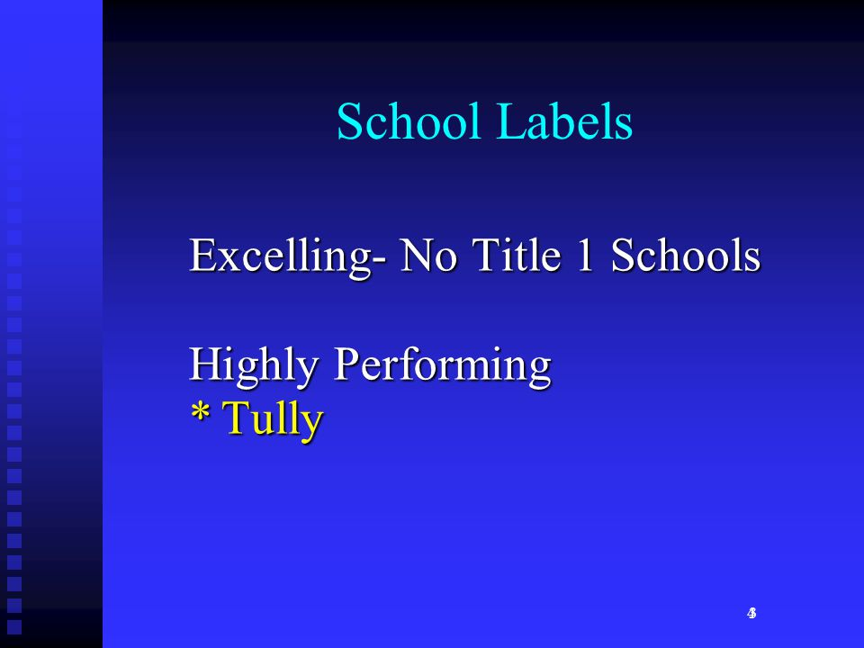 4 School Labels Excelling- No Title 1 Schools Highly Performing *Tully 3