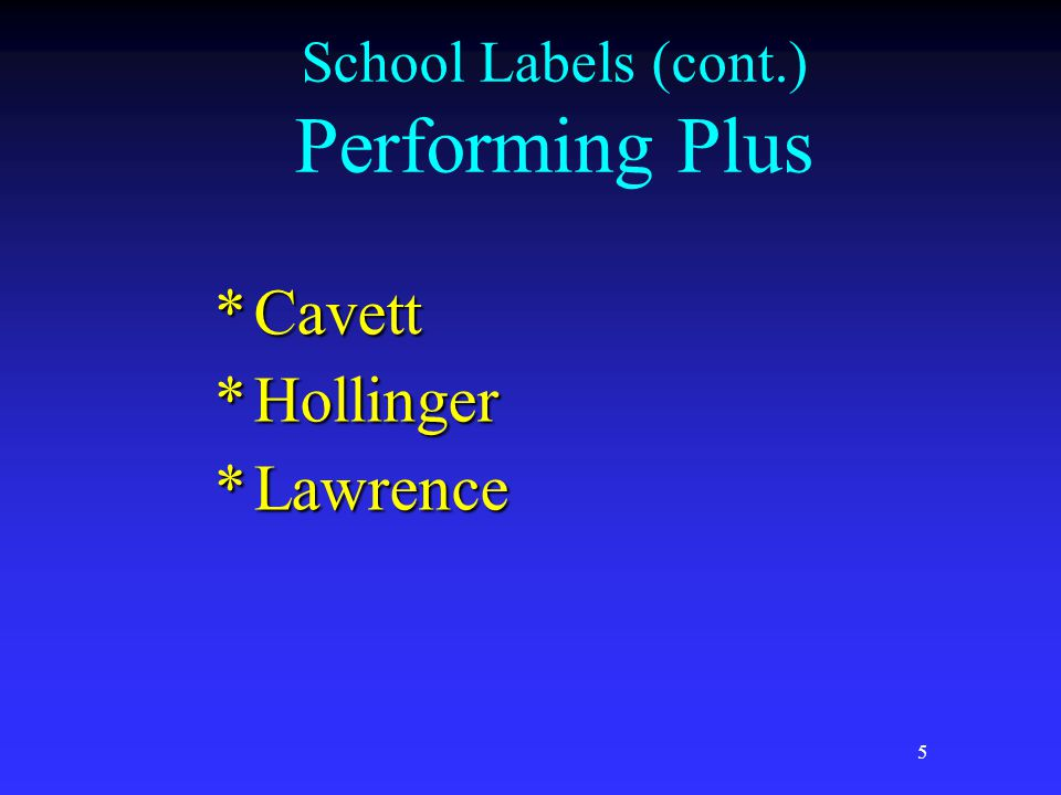 5 School Labels (cont.) Performing Plus *Cavett *Hollinger *Lawrence
