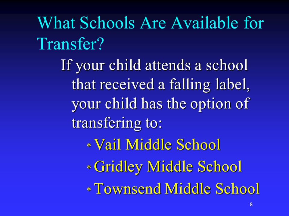 8 What Schools Are Available for Transfer.