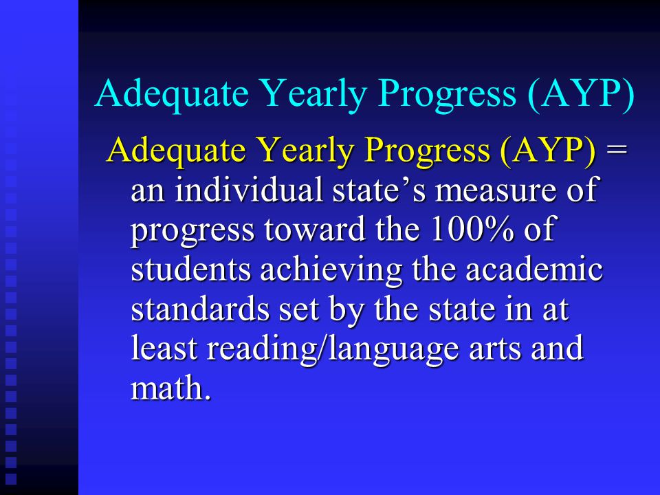 Adequate Yearly Progress (AYP) Adequate Yearly Progress (AYP) = an individual state's measure of progress toward the 100% of students achieving the academic standards set by the state in at least reading/language arts and math.
