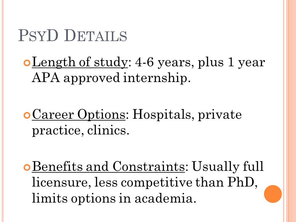 P SY D D ETAILS Length of study: 4-6 years, plus 1 year APA approved internship.