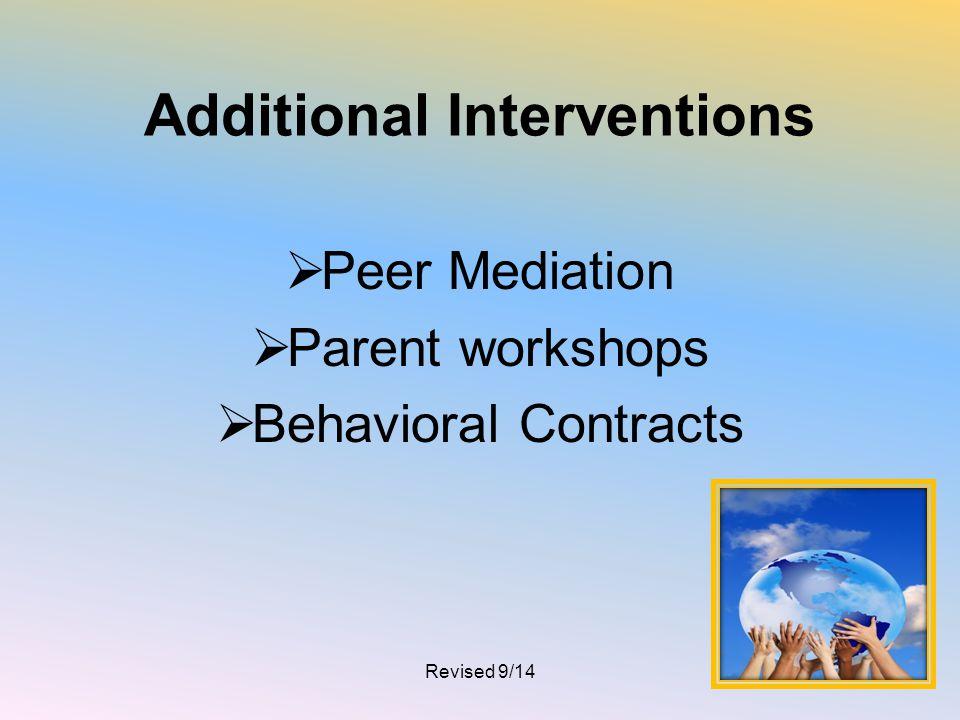 Additional Interventions  Peer Mediation  Parent workshops  Behavioral Contracts Revised 9/1425