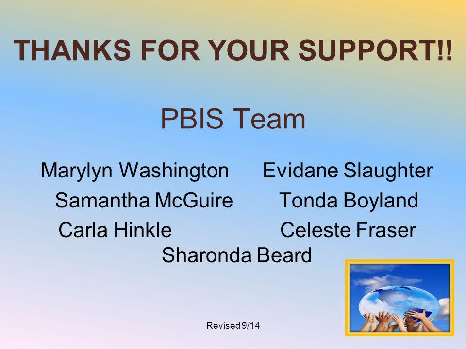 THANKS FOR YOUR SUPPORT!! PBIS Team Marylyn Washington Evidane Slaughter Samantha McGuire Tonda Boyland Carla Hinkle Celeste Fraser Sharonda Beard Rev