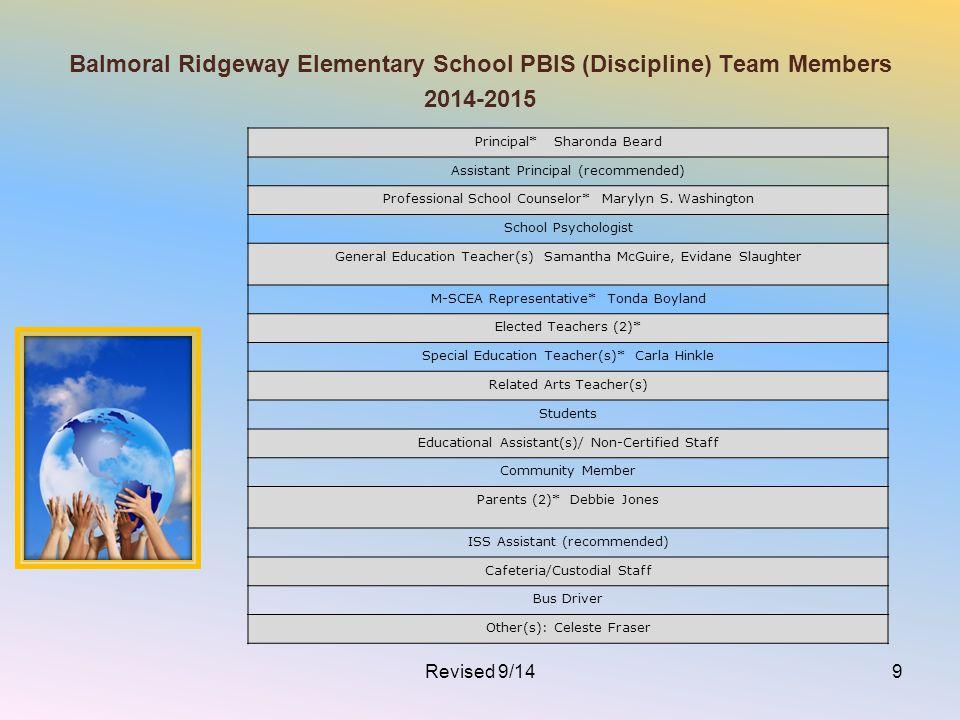 Balmoral Ridgeway Elementary School PBIS (Discipline) Team Members 2014-2015 Principal* Sharonda Beard Assistant Principal (recommended) Professional