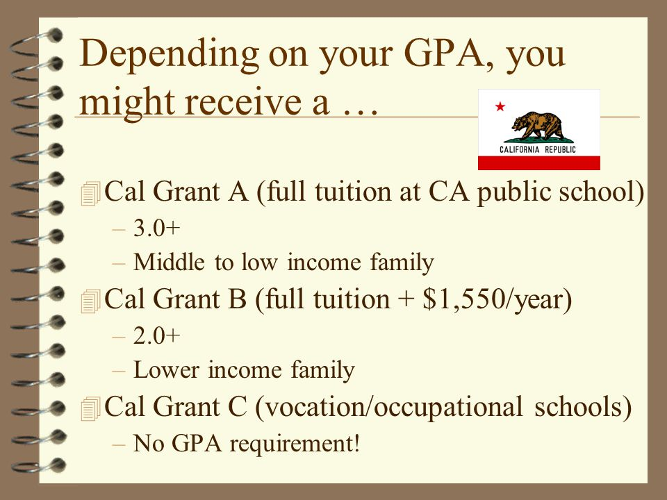 Depending on your GPA, you might receive a … 4 Cal Grant A (full tuition at CA public school) –3.0+ –Middle to low income family 4 Cal Grant B (full tuition + $1,550/year) –2.0+ –Lower income family 4 Cal Grant C (vocation/occupational schools) –No GPA requirement!