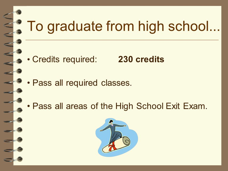 To graduate from high school...Credits required:230 credits Pass all required classes.
