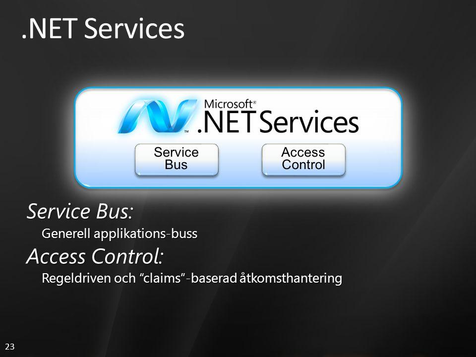 23.NET Services Service Bus: Generell applikations-buss Access Control: Regeldriven och claims -baserad åtkomsthantering