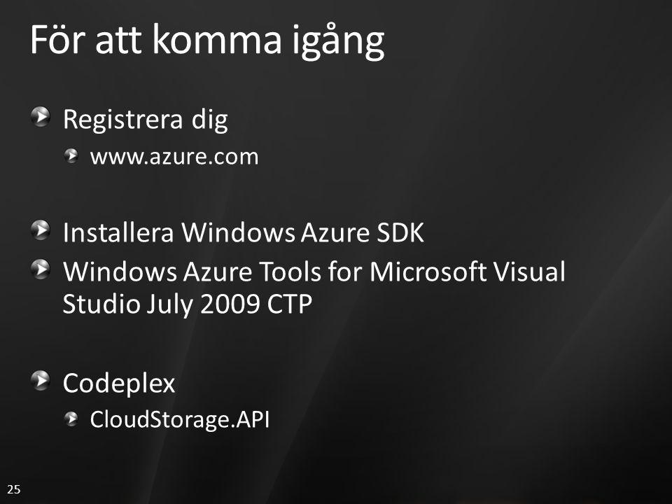 25 För att komma igång Registrera dig www.azure.com Installera Windows Azure SDK Windows Azure Tools for Microsoft Visual Studio July 2009 CTP Codeplex CloudStorage.API