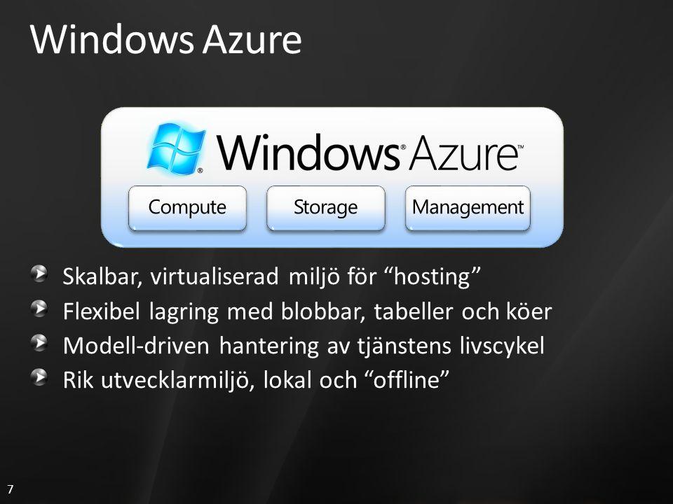 7 Windows Azure Skalbar, virtualiserad miljö för hosting Flexibel lagring med blobbar, tabeller och köer Modell-driven hantering av tjänstens livscykel Rik utvecklarmiljö, lokal och offline